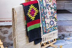 Traditional bulgarian rugs with stripes and vivid colors stock photos