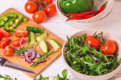 Traditional Bulgarian salad Shopski with fresh vegetables and fe. Ta cheese. Healthy food and vegetarian concept Stock Image