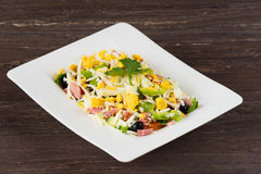 Traditional Bulgarian Shepherd salad with tomatoes, peppers, cucumbers, mushrooms, ham, cheese and eggs in white dish. Stock Image