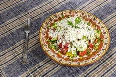 Traditional bulgarian Shopska salad Stock Photos