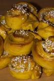 Traditional buns. Some swedish traditional saffron buns Stock Photo