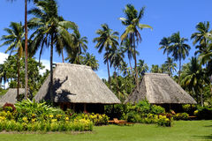 Traditional bure with thatched roof, Vanua Levu island, Fiji royalty free stock photography