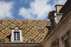 Traditional Burgundy roof tiles Dijon France closeup Royalty Free Stock Photography