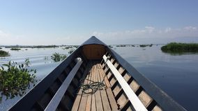 Traditional Burmese boat, sailing. Inle Lake stock video