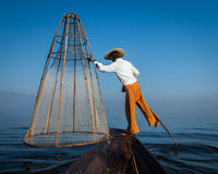 Traditional Burmese fisherman at Inle lak, Myanmar Royalty Free Stock Photography
