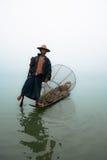 Traditional Burmese fisherman on Inle lake, Myanmar Stock Photo