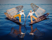 Traditional Burmese fisherman at Inle lake Myanmar Stock Photos