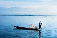 Traditional Burmese fisherman at Inle lake, Myanmar Stock Photos