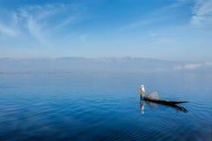 Traditional Burmese fisherman at Inle lake, Myanmar Royalty Free Stock Images