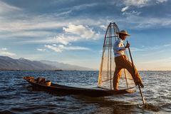 Traditional Burmese fisherman at Inle lake, Myanmar stock images