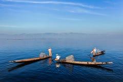 Traditional Burmese fisherman at Inle lake, Myanmar Stock Image