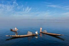 Traditional Burmese fisherman at Inle lake, Myanmar Stock Photography
