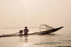 Traditional Burmese fisherman at Inle lake Stock Images