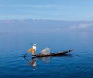 Traditional Burmese fisherman at Inle lake Royalty Free Stock Image