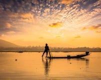 Traditional Burmese fisherman at Inle lake Myanmar Stock Images