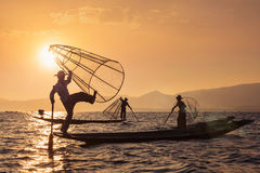 Traditional Burmese fisherman at Inle lake, Myanmar stock photos