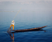 Traditional Burmese fisherman at Inle lake Royalty Free Stock Image