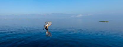 Traditional Burmese fisherman at Inle lake Stock Photos
