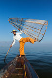 Traditional Burmese fisherman in Myanmar Royalty Free Stock Photos