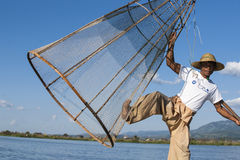 Traditional Burmese fisherman. Royalty Free Stock Photography