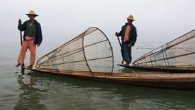 Traditional Burmese fishermans on Inle lake, Myanmar Stock Image