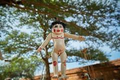 Traditional Burmese puppets. Hanging on display outside the Dhammayangyi Temple, Bagan Myanmar Burma royalty free stock photos