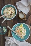 Traditional cabbage slaw salad with creamy dressing. Two Plates of Traditional cabbage and carrot slaw salad with creamy dressing Royalty Free Stock Photos