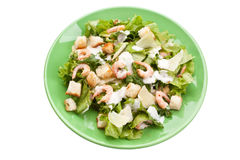 Traditional Caesar Salad with Shrimps Stock Image