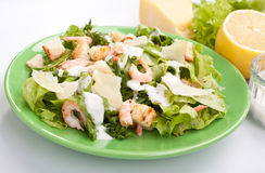Traditional Caesar Salad with Shrimps Stock Images