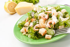 Traditional Caesar Salad with Shrimps Stock Photo