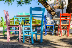 A traditional cafe in Cycladic village Stock Photo