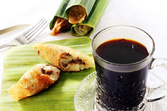 Traditional cake - rice pancake with coffee Royalty Free Stock Photography