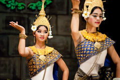 Traditional Cambodian Dance. Dancers in apsara costume performing tradition Cambodian dance. Khmer apsara dance is a form of traditional dance from Cambodia Royalty Free Stock Photography