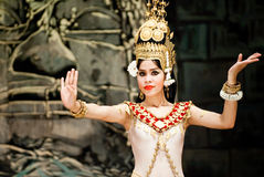 Traditional Cambodian Dance. Dancer in apsara costume performing tradition Cambodian dance. Khmer apsara dance is a form of traditional dance from Cambodia. This Stock Photography