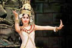 Traditional Cambodian Dance. Dancer in apsara costume performing tradition Cambodian dance. Khmer apsara dance is a form of traditional dance from Cambodia. This Royalty Free Stock Image