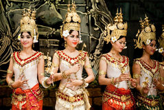 Traditional Cambodian Dance. Dancers in apsara costume performing tradition Cambodian dance. Khmer apsara dance is a form of traditional dance from Cambodia Royalty Free Stock Images
