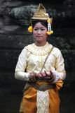 Traditional Cambodian dancer. Dancer in apsara costume performing tradition Cambodian dance Stock Photography