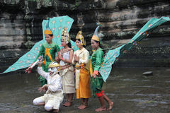Traditional Cambodian dancers. Dancers in apsara costume performing tradition Cambodian dance Stock Image