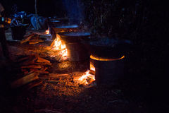 Traditional Cambodian Khmer Wedding Food for a Feast Cooking over Fires at Night Stock Photos