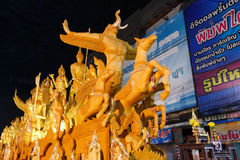 The traditional candle procession festival of Buddha. Royalty Free Stock Photo