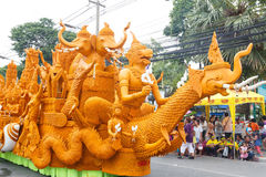The traditional candle procession festival of Buddha. Royalty Free Stock Photos