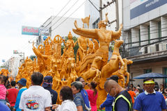The traditional candle procession festival of Buddha. NAKHON RATCHASIMA, THAILAND - JULY 12 : The traditional candle procession festival of Buddha on July 12 stock images