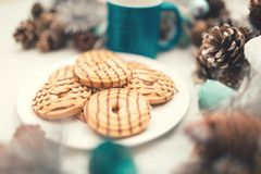Traditional caramel sweets, cookies and biscuits. vintage effect Stock Photography