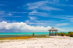 Traditional Caribbean arbor on shore Royalty Free Stock Image