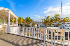Traditional Caribbean style architecture of Puerto Calero marina Stock Images