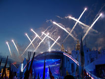 Traditional carnival. Celebratory fireworks on the Red area in Moscow Royalty Free Stock Image
