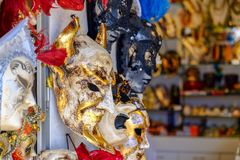 Carnival masks for sale on a souvenir shop in Venice, Italy Royalty Free Stock Images