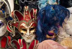 Traditional carnival masks in Venice. Sold in the streets everywhere, a symbol of Venice, a good souvenir or present Stock Photography