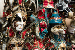 Traditional carnival masks in Venice. Sold in the streets everywhere, a symbol of Venice, a good souvenir or present Stock Photo