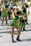 Traditional carnival in a Spanish town Palamos in Catalonia. Many people in costume and interesting make-up. 24. 02. 2020 Spain